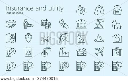 Inshurance And Utility Outline Iconset. Was Created With Grids For Pixel Perfect If Use Minimal Icon