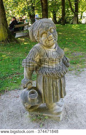 Salzburg, Austria,  09,03,2011. Statue Of A Dwarf From The Garden Of The Dwarfs Of Mirabel Park. Dwa