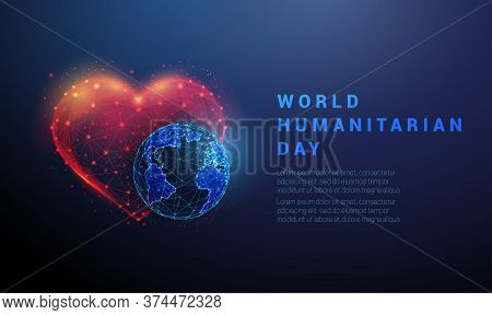 Abstract Planet Earth And Heart. World Humanitarian Day Template