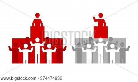 Speech From The Podium - People Group Listening And Applaud To Speaker (seminar Presenter Or Politic