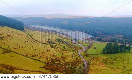 Beautiful Lake At Brecon Beacons National Park In Wales - Aerial Footage -aerial Photography