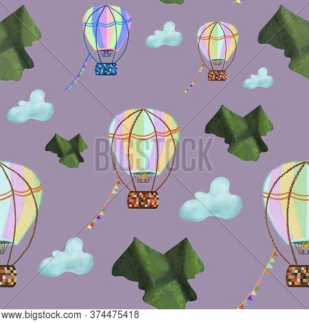 Colorful Hot Air Balloons Across Blue Clouds And Green Mountains On Pink Background. Hand Drawing. A