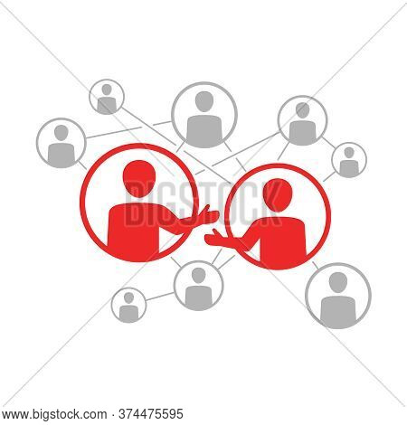 Networking Vector Icon - Social Network Scheme - People Community Which Contains People Icons Or Ava