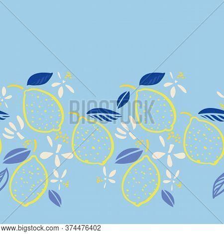 Vector Tropical Modern Mediterranean Summer Lemon Repeating Border. Hand Drawn Bright Textured Citru