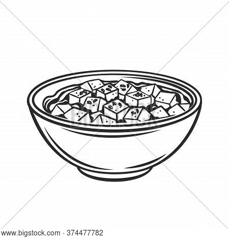 Mapo Tofu Chinese Cuisine Outline Icon. Asian Food Engraved Vector Illustration Of Tofu Dish.