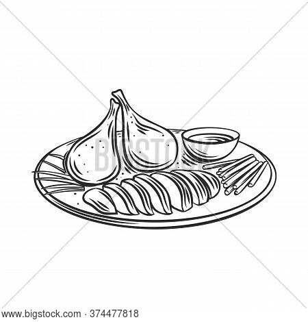 Peking Duck Chinese Cuisine Outline Icon. Asian Food Engraved Vector Illustration.