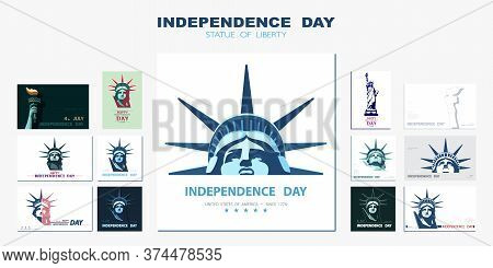 Independence Day, Portrait Statue Of Liberty, Poster Presentation. Set Of Green Flat Design Template