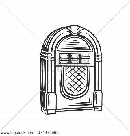 Retro Jukebox Monochrome Icon. Vector Illustration Of Fifties Rock And Roll Hits, Vintage Juke Box B