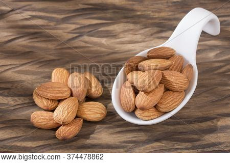 Peeled Almonds - Prunus Dulcis. Text Space