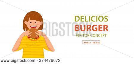 Kid Biting Burger Fast Food Vector Illustration. Colorful Cartoon Style Concept