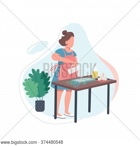 Woman With Melted Soap Flat Color Vector Faceless Character. Diy Recipe. Handmade Cosmetic Product.
