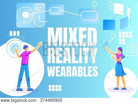 Mixed Reality Wearables Banner Flat Vector Template. Brochure, Poster Concept Design With Cartoon Ch