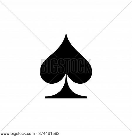 Spade Icon Of Playing Card Icon On White Background. Flat Style. Spade Icon For Your Web Site Design