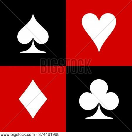 Set Of Playing Card Icon On White Background. Flat Style. Card Suit Icon For Your Web Site Design, L