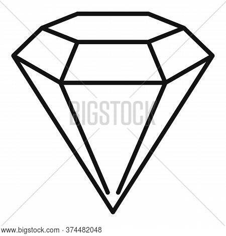 Shiny Game Diamond Icon. Outline Shiny Game Diamond Vector Icon For Web Design Isolated On White Bac