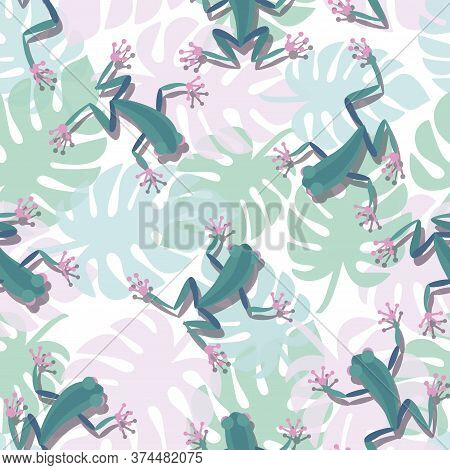 Tropical Frogs Pattern. Monstera Leaves And Funny Frogs In Cartoon Style Sitting And Jumping. Seamle