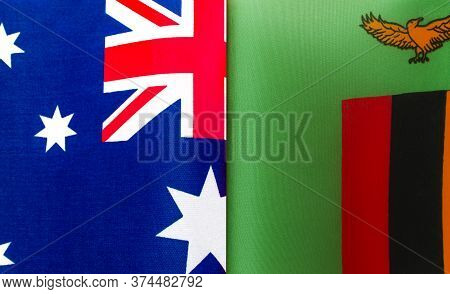 Fragments Of The National Flags Of Australia And The Republic Of Zambia Close Up