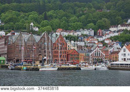 Scenic Panorama Of The Old Town Pier Architecture Of Bryggen In Bergen, Norway Belongs To Unesco Wor