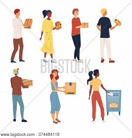 People Wait In A Queue To Send Packages And Letters. Set Of Characters Pick Up, Send Parcels. Mail D