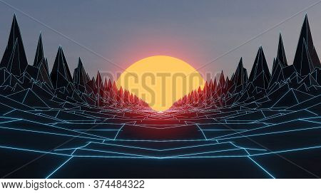 Abstract Rocks And Big Bright Sun In The Center, 1980s Retro Style. 3d Render