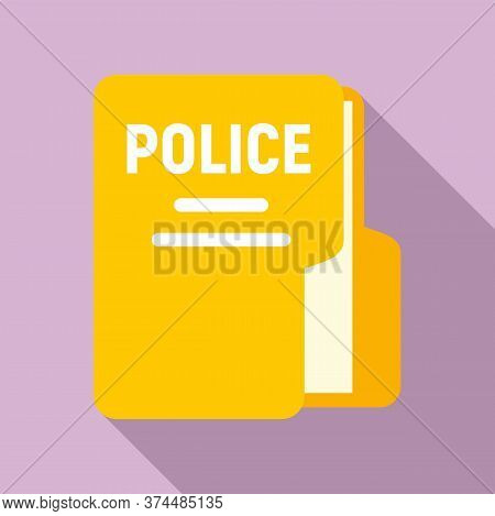Police Station Folder Icon. Flat Illustration Of Police Station Folder Vector Icon For Web Design