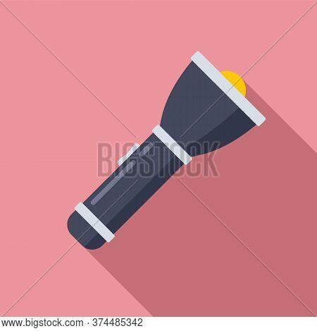 Policeman Flashlight Icon. Flat Illustration Of Policeman Flashlight Vector Icon For Web Design