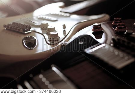Electric Guitar,used To Play Music And Notes, For Sing A Song, Macro Abstract.