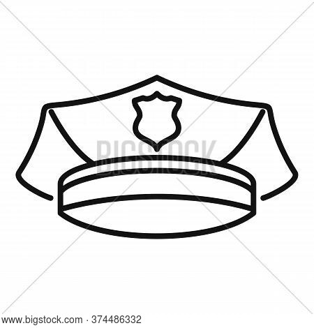 Police Officer Cap Icon. Outline Police Officer Cap Vector Icon For Web Design Isolated On White Bac