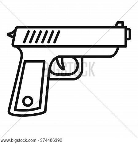 Policeman Gun Icon. Outline Policeman Gun Vector Icon For Web Design Isolated On White Background