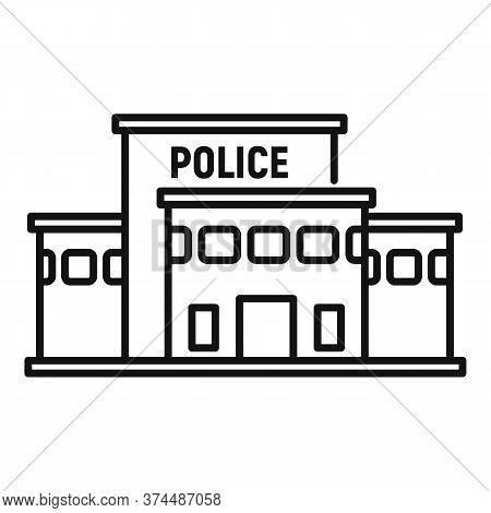 Police Station Building Icon. Outline Police Station Building Vector Icon For Web Design Isolated On