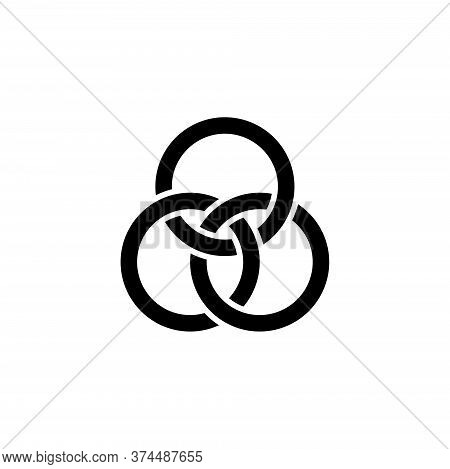 Borromean Three Rings, Optical Illusion. Flat Vector Icon Illustration. Simple Black Symbol On White