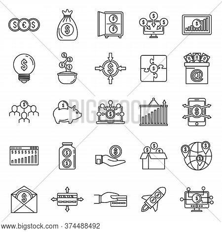 Social Crowdfunding Platform Icons Set. Outline Set Of Social Crowdfunding Platform Vector Icons For