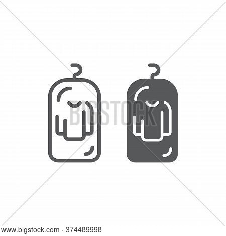 Clothes Cover Line And Glyph Icon, Apparel And Suit, Storage For Clothing Sign, Vector Graphics, A L