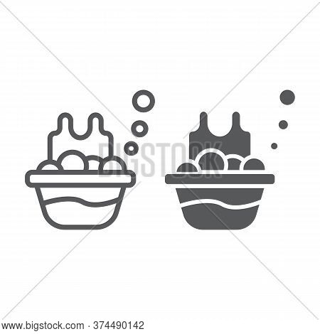 Basin With The Clothes Line And Glyph Icon, Laundry And Wash, Laundering In Basin Sign, Vector Graph