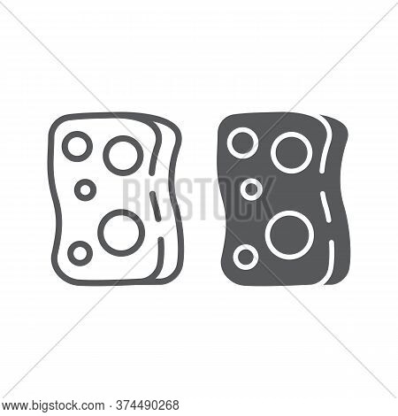 Sponge Line And Glyph Icon, Laundry And Wash, Washcloth Sign, Vector Graphics, A Linear Pattern On A