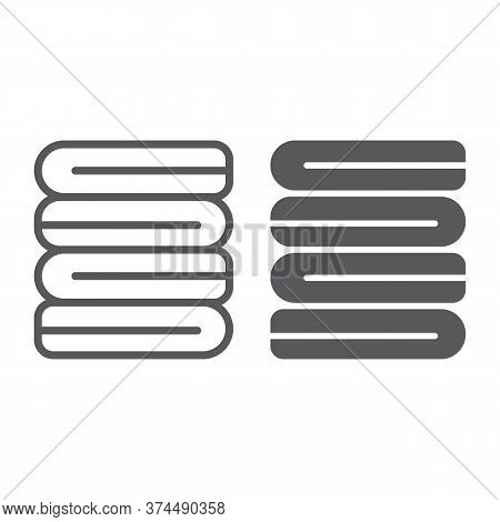 Folded Clothes Line And Glyph Icon, Laundry And Wash, Folded Towels Sign, Vector Graphics, A Linear