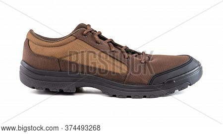 Right Cheap Brown Hiking Or Hunting Shoe Isolated On White Background