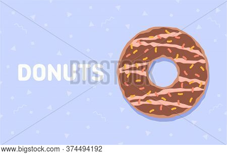 Food Background With Delicious Donut. Colorful Glazed Donut. Vector Illustration