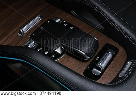 Novosibirsk/ Russia - April 28 2020: Mercedes-benz Gle-class, Gear Shift. Automatic Transmission Gea