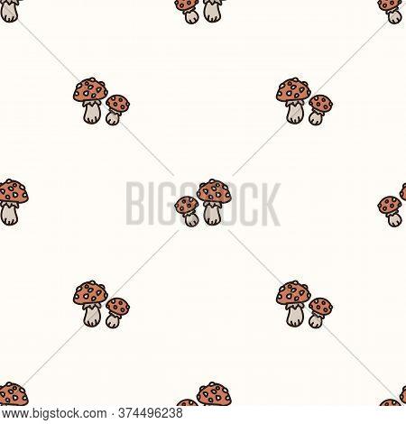 Seamless Background Two Toadstool Mushroom Gender Neutral Baby Pattern. Simple Whimsical Minimal Ear
