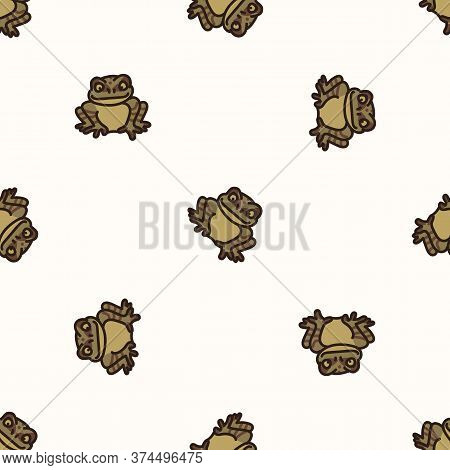 Seamless Background Toad Gender Neutral Baby Pattern. Simple Whimsical Minimal Earthy 2 Tone Color.