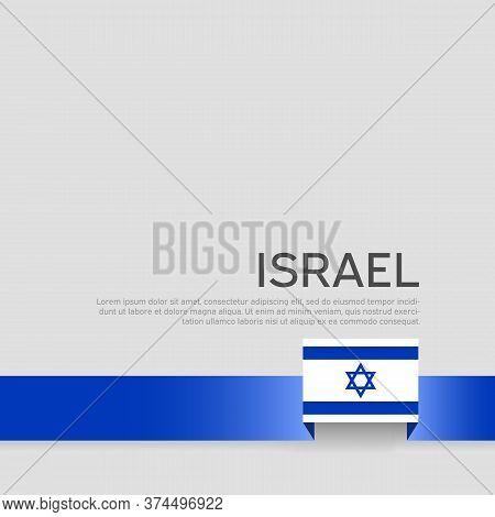 Israel Flag Background. Ribbon Color Of The Flag Of Israel On A White Background. National Poster. V