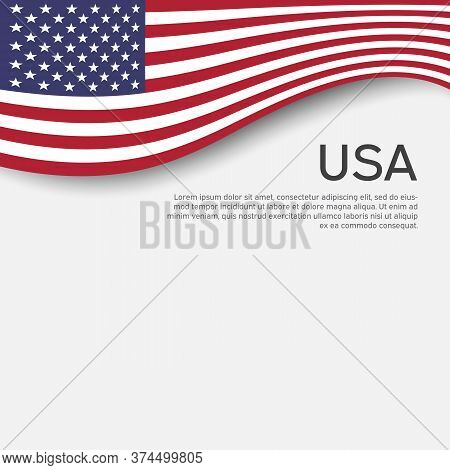 Abstract Waving Usa Flag. Creative Background For American Patriotic Holiday Design. National Usa Po