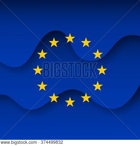 European Union Abstract Flag Background For Creative Design. Graphic Wavy Background, Template. Pape