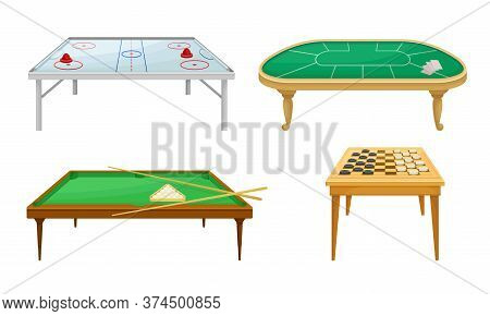 Tables For Board Games With Air Hockey Table And Billiard Table Vector Set