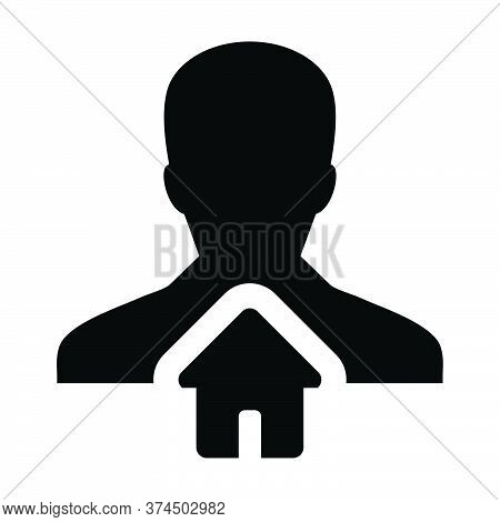 House Icon Vector With Person Profile Avatar Male User Symbol In A Flat Color Glyph .pictogram Illus