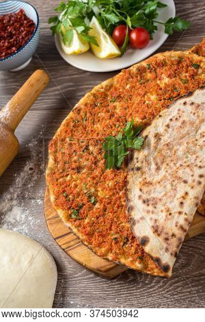 Delicious Turkish Pizza Lahmacun. This Lahmacun Is Tasty And Delicious