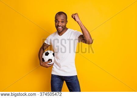 Yeah We Win. Positive Ecstatic Afro American Football Fan Guy Hold Soccer Ball Support National Team