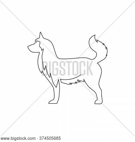 Single Continuous Line Drawing Of Simple Cute Siberian Husky Puppy Dog Icon. Pet Animal Logo Emblem