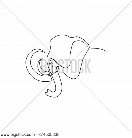 Single Continuous Line Drawing Of Big Mammoth Corporate Logo Identity. Ancient Animal From Ice Age I
